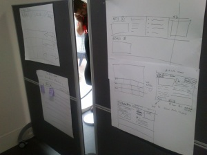 Large notes on the wall with sketches for a visual interface.
