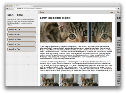 Screenshot of Chrome browser showing multiple panels and a menu in one swiping page.